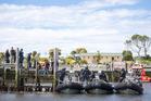 NZ Navy starts evacuating tourists from Kaikoura. Photo / Mike Scott