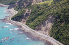 Aerial shots of SH1 south of Kaikoura. A devastating earthquake hit the Kaikoura region causing widespread damage including to roads out of the township. Photo / Mike Scott