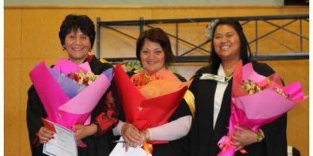 SUCCESS: From left, Rotorua Girls' High School principal Ally Gibbons, deputy principal Aramoana Mohi Maxwell and e-learning coordinator and Year 10 dean Felicity Kaiwai. PHOTO/SUPPLIED