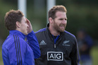 All Blacks captain Kieran Read and Beauden Barrett, during the team training session held at the Westmanstown Sports Complex, Dublin. Photo / Brett Phibbs