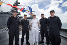 New Zealand Navy staff l-r, LT. Sophie Going, SLT. Kyu Han Kyeong, SLT. Laura Stapley, SLT. Wilem Pieterse and LT. Anna Hill on board HMNZS Te Mana, while being docked in Wynyard Quarter, Auckland, fo