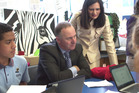 Prime Minister John Key and Parmjeet Parmar visited the Waikowhai Intermediate School in Mt Roskill today. Picture / NZME