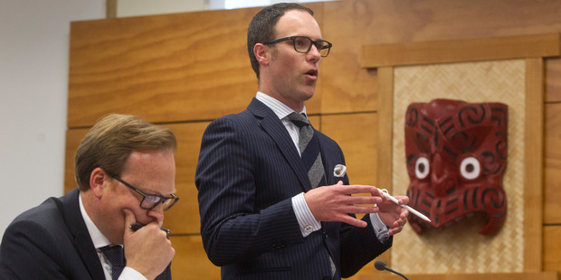 Rotorua Lakes Council's lawyer Lachlan Muldowney, left, and lawyer for Geoff Williams, Phillip Cornege in court today. Photo/Stephen Parker