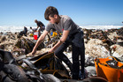 Christchurch teenager Peter Anderson, 13, is part of a large volunteer group saving sealife left stranded by the raised coastline after the quake. Photo / Mike Scott