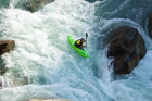 Olympic slalom canoeist Mike Dawson kayaking the Indus River on his expedition in the militarised zone of Pakistan. Photo / Supplied