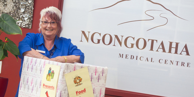 Loading TIME TO GIVE: Ngongotaha Medical Centre administrator Christine Hands is running a gift box collection for the Sallies for the fourth year running. PHOTO/STEPHEN PARKER