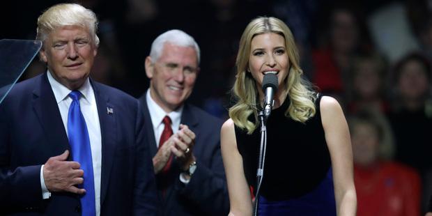 Ivanka Trump speaks beside her father Donald Trump. Photo / AP
