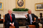 President Barack Obama meets with President-elect Donald Trump in the Oval Office. Photo / AP
