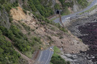 State Highway One and the main railway line north of Kaikoura following Monday's 7.8 earthquake. Photo / Mark Mitchell