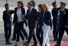 John Key and his wife Bronagh, fourth from left, walk the guard of honor upon their arrival to Lima, Peru, to participate in the APEC Summit. Photo / AP