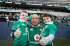 Ireland's captain Rory Best with his children celebrate their win against the All Blacks during the test match between the New Zealand All Blacks and Ireland. Photo / Brett Phibbs.