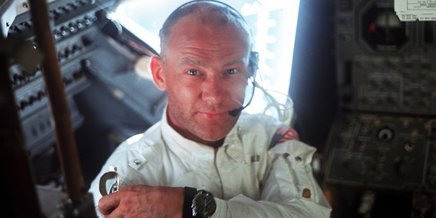 Buzz Aldrin on the way to the moon in 1969. Photo / Supplied