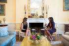 Melania Trump meets First Lady Michelle Obama for tea in the Yellow Oval Room of the White House.