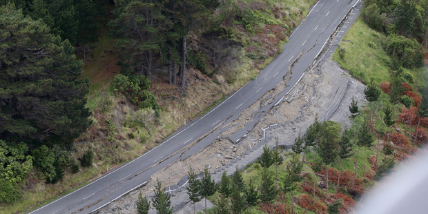 Earthquake damage on State Highway 1 north of Kaikoura. Photo / Mark Mitchell