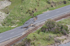 Earthquake damage on State Highway One and the main trunk railway line north of Kaikoura. Photo / Mark Mitchell.