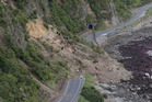 Huge slips, caused by the 7.8 earthquake, blocking State Highway 1 north of Kaikoura. Photo / Mark Mitchell