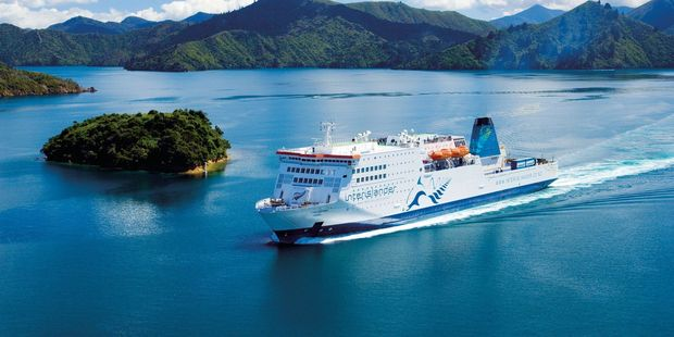 The Interisland ferry Kaitaki in Picton Harbour. A new inland route now runs from  Picton to Christchurch via Murchison and the Lewis Pass. Photo / File
