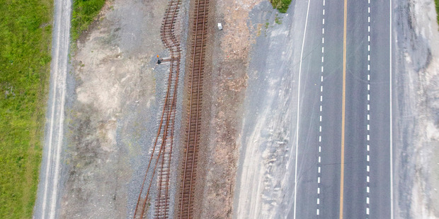 Bent train tracks south of Kaikoura after a devastating 7.8 magnitude earthquake hit the region just after midnight on November 14, causing widespread damage.