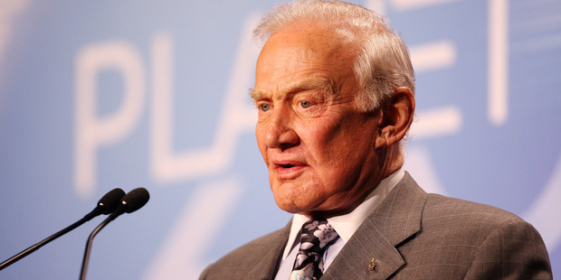 Former American astronaut Buzz Aldrin speaks at the Planet 2010 communications and technology conference, Auckland, New Zealand. Photo / NZPA