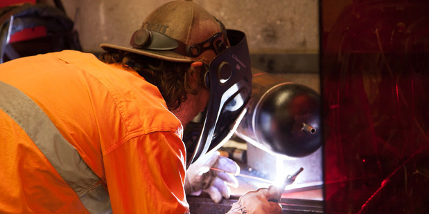 Dannevirke's Andrew Champion, 19, in action in the BOC Welding section of the recent national WorldSkills competition