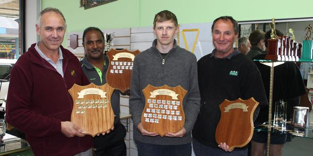 The Dannevirke Chamber of Commerce Christmas parade committee with the new shields for winners.