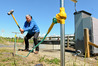 Aquatronic Solutions International  managing director John McKendry collects electro-seismic data at a Havelock North aquifer bore. Photo / Warren Buckland