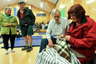 EVACUATED: Julie and Colin Barnes of Haumoana joined many other residents of Clive, Te Awanga and Haumoana, who were evacuated to the Haumoana School hall. PHOTO/WARREN BUCKLAND.