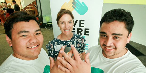Giving back: Hawke's Bay Foundation trustee Jessica O'Sullivan with Prima Volta recipients, LJ Crichton and Taylor Wallbank in front of the new 'Live here, Give Here' campaign.Photo/Warren Buckland.
