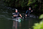 Czech paddlers Vít Prindis (left) and Ondrej Tunka training on the Kaituna River near Rotorua, ahead of next week's Whitewater XL. Photo by Jamie Troughton Dscribe Media Services