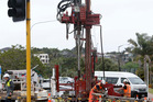 Drilling rig operators at work near the Hundertwasser Arts Centre site at Whangarei's Town Basin. PHOTO/MICHAEL CUNNINGHAM