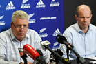 NZRU CEO Steve Tew, left, and Chiefs CEO Andrew Flexman at a press conference on the release of the report into players behaviour at the end of season function. Photo / Ross Setford.