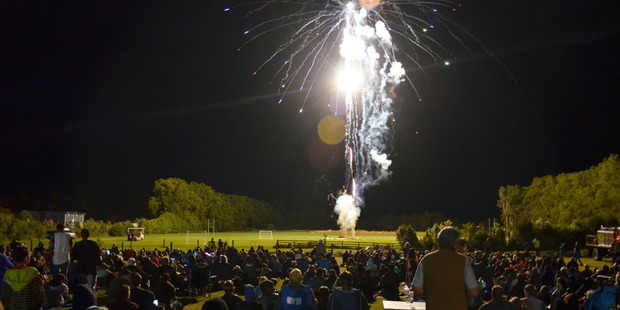 Fireworks light up the sky at Springbank School. Photo / Debbie Beadle