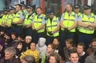 The protesters formed a human blockade at the annual New Zealand Defence Industry Association Forum in an attempt to stop hundreds of delegates attending.