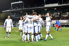 Italy celebrate a goal in their FIFA World Cup qualifying match against Liechtenstein last night. Photo / AP