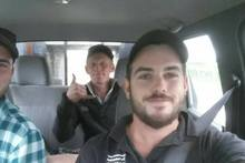 Tyler Fifield (at wheel), Josh Tomlinson-Nott and Michael Kerr went in search of those in remote communities affected by the Kaikoura Earthquake. Picture / supplied