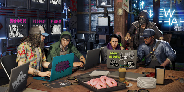 Deadsec's cyber crew forms the basis of Watch Dogs 2. Marcus, right, is the main protagonist.