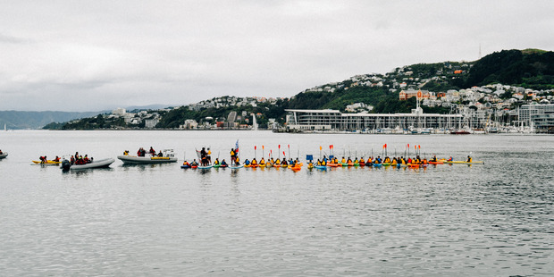 Wellingtonians took to the water today to protest against oil companies Statoil and Chevron. Photo/supplied
