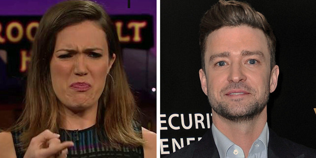Mandy Moore explains the time Justin Timberlake pointed out she has big feet. Photos / The Late Late Show, AP