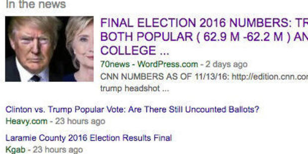 An example of fake news which was a top search result on Google.