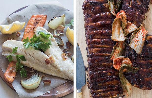 Weeknight wonders: Panfried fish and sticky master stock pork ribs. Photos / Bite magazine