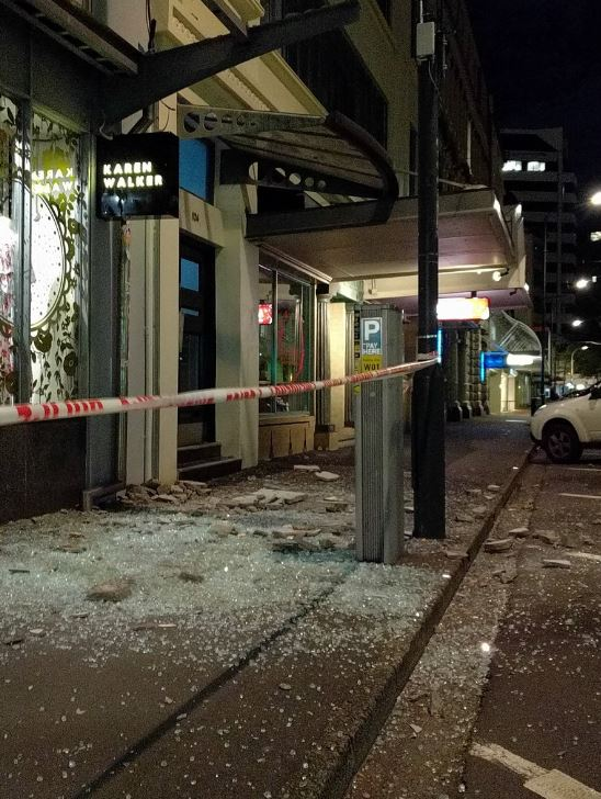 Damage to the buildings on Wakefield Street, Wellington. Photo / Supplied