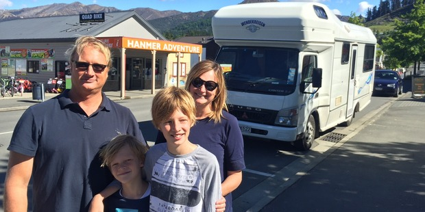Australian tourists, Nicholas Matthews, sons Noah, 8, and Finn, 12, and wife Bronwen rode out their first ever quakes in Hanmer Springs. Photo / Kurt Bayer