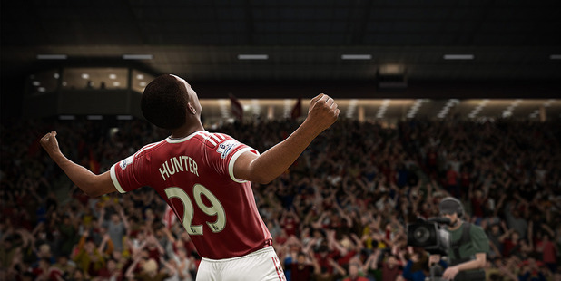 Alex Hunter in action in The Journey mode on Fifa 17.