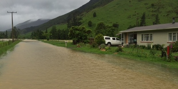 The flooded road at Tunakino Valley. Photo / Supplied