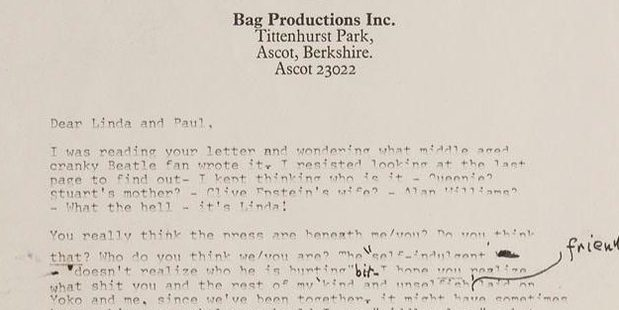 A copy of the letter from Lennon to McCartney that is now on sale.