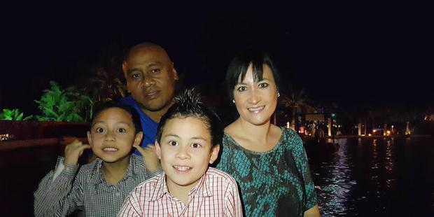 Loading Jonah and Nadene Lomu with their children, Brayley and Dhyreille. Photo/supplied.