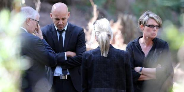 Deputy State Coroner Elaine Truscott (right) with police at the scene where NSW Police continue the search for the body of Matthew Leveson. Photo / Craig Greenhill, News Corp Australia