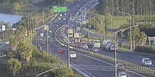 The truck crash is causing major delays on the Northern Motorway. Photo / Supplied