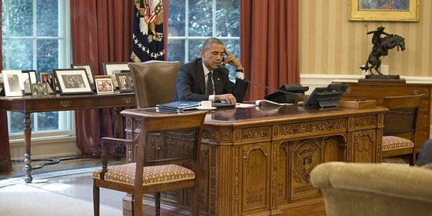 President Obama worked out of the Oval Office throughout his tenure. Photo / Getty Images