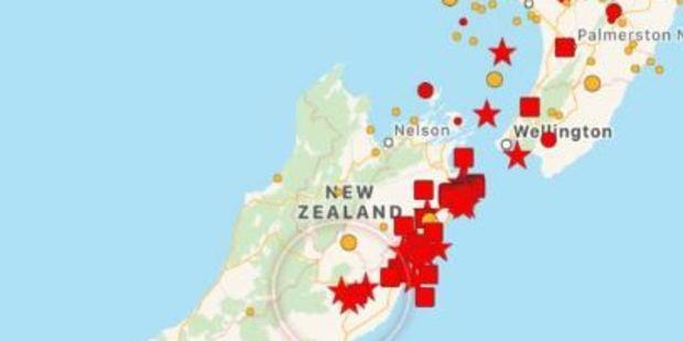 Loading Where the quakes originally hit. Photo / via Twitter
